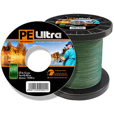 Шнур плет. AQUA PE ULTRA Dark green 1500м (0,12мм)